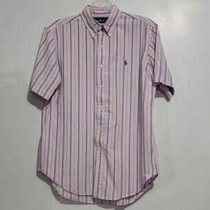 Ralph Lauren Pink with Blue Striped Button-up Sz M